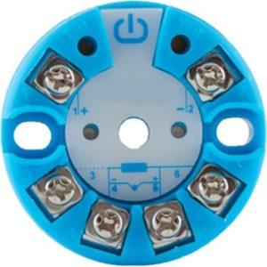 convertisseur thermocouple 4-20ma cylindrique et bleu