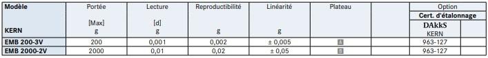Spécification de la balance de précision EMB-V