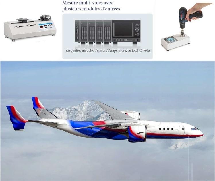 presentation d'applications en aeronautique avec un avion et des instruments de mesure