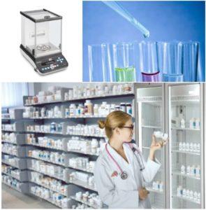 montage photo avec une balance, des tubes à essai et une pharmacienne