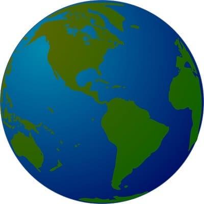 globe terrestre montrant la proportion de terre et d'eau
